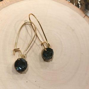 Kidney earrings with vintage Swarovski crystal